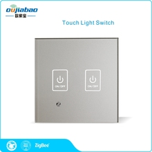 Oujiabao 86 Wall Switch 2 Gang Zigbee HA1.2 Touch Light Switch Single Fire Switch for Home Automation