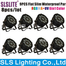 8pcs/lot 6-in-1 RGBWA+UV 9*12W DMX 512 outdoor led flat par outdoor Led par IP 65 LED Par Light/LED Slim Par/DJ Effect Light