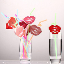 12pcs Sexy Red Lips Color Drink Straw Disposable Bendable Art PP Straw Party Decoration Wedding Gift Favors