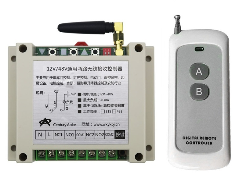 New DC12-48V 2CH RF Wireless Remote Control Switch System library door control 1pcs (JRL-3) transmitter 1 receiver Learning code<br>