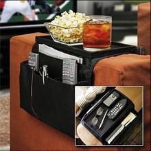 Sofa Chair Arm Rest 6 Pocket Organiser Couch Remote Control Storage Bags Home Organization Black