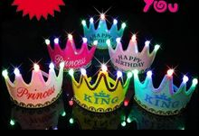 Birthday Cap Happy Glowing 5 lamp Crown Cap King Princess crown headdress Birthday party dress up Christmas carnival EMS GIFT