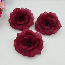 10pcs/lot 8CM burgundy Artificial Flowers Heads Big Rose Flower Ball Head Brooch Festival Wedding Decoration Flower Silk Flower