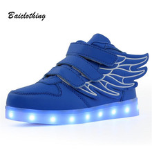 2017 New Angel Wings Series Kids LED Luminous Sneakers, Fashion Boys And Girls USB Charging Casual Shoes With 7 Colors Light
