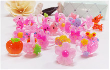 100Pcs/lot Kids Children's Plastice Cartoon Rings Wholesale Cute Animal  Flower Heart Ring Jewelry New Fashion Child Xmas Gift