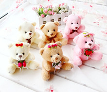 Wholesale 6pcs 10cm Lovely bear doll plush toys Key chain soft bag Small pendant girl birthday gift(China)