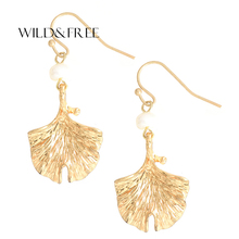 WILD&FREE New Spring leaves Dangle Earring Fresh Water Pearl Drop Earrings Vintage Gold & Silver Plant Earring Jewelry For Women(China)