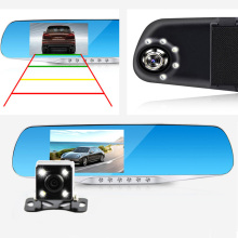 "4.3""LCD Night Vision Car Dvr Review Mirror Full HD 1080P Dual Lens Video Recorder Auto Camcorder With 5 LED Light Dash Cam"