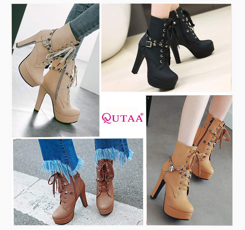 2018 Women's Ankle Boots, Rivet Design Round Toe, Pu Leather, Rubber Square High Heel, Zipper Women Boots 40