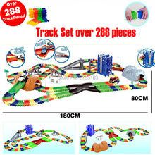 Create a Road Flexile Car Large Track Set over 288PCS Electronics Track Roller Coaster track Electronics Assemble Rail Cars(China)