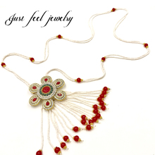 New Italy Antique Gold Crystal&Beads Statement Necklace Pendant Tassels Beads Sun Flower Necklace Clothing Chain For Women
