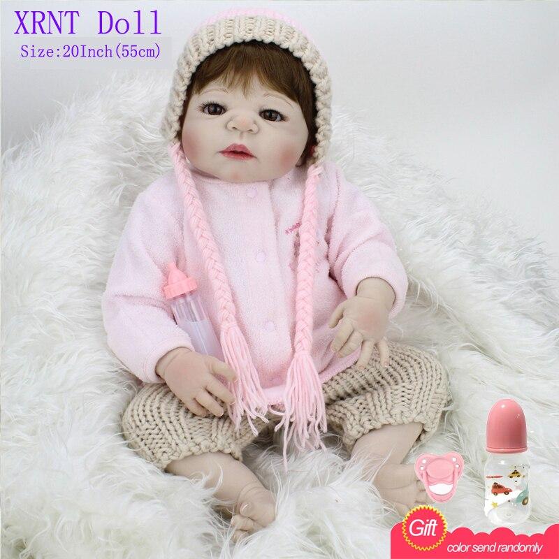 22Inch Silicone Reborn 55cm Baby Dolls Kids Full Vinyl Babiess Toys For Girls Fashion Doll Reborn Doll Baby Doll<br><br>Aliexpress