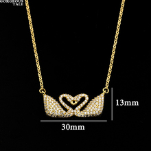 GORGEOUS TALE Dainty Delicate Trendy Double Cz Swan Necklace Pendant Women Maxi Collier Elegant Animal Swan Jewelry  Necklace