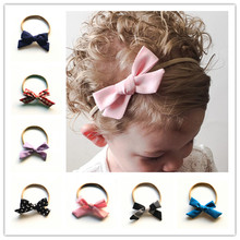 Retail Boutique Nylon Headband With Fabric Hair Bow kids  Hair Accessories kids Nylon Elastic Headband drop shipping