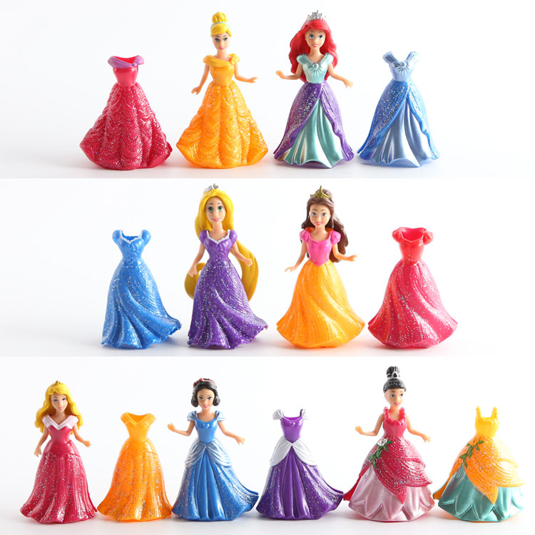 7set/lot 9cm Princess Snow White Cinderella Mermaid anime action figure set with magic clip dress best kids toys for girls Q011<br><br>Aliexpress