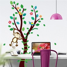 Little Monkey on the Tree Branch Wall Stickers Kids Babies Infant Room Nursery Wall Decor Poster DIY Home Decoration Wall Decal