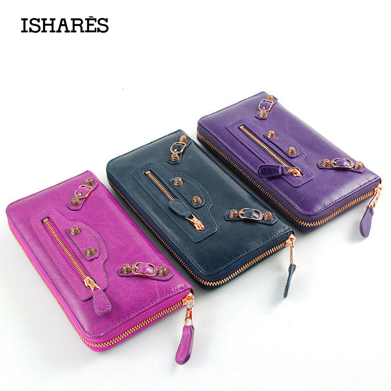 ISHARES Oil Wax Paper Genuine Leather women Cool Clutch Wallet Top Quality Gold Zipper Rivet Solid Colors Purses Hot Sale IS6032<br>