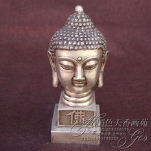 Antique bronze bronze sculpture Buddha head old goods Decoration home decoration Decoration collection Buddha head(China)