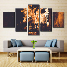 5 Pieces Indoor Electric Fireplaces Wood Burning Stoves Modern Home Wall Decor Canvas Picture Art HD Print Painting Canvas Art(China)