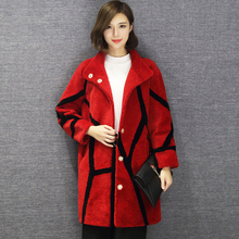 Real fur coat women winter sheep shearing fur thick warm jacket special pattern fashion design free shipping New Phoenix 0627I(China)