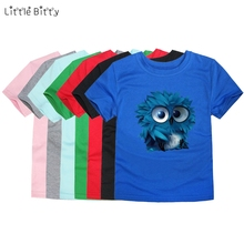 Little Bitty boys t shirt kids tees owl t-shirts baby girls children t shirts child short sleeve clothes kids tops for 2-14Y(China)