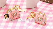 Pink Lady's Handbag usb flash drives Crystal Jewellery 100% real capacity 8GB 16GB 32GB 64GB Gift souvenir wholesal S232(China)