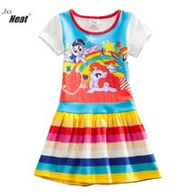 Neat Baby girl wearing summer cotton children's clothing girl children printing pattern dress baby girl princess clothes SH9113(China)