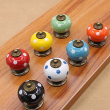 Modern Ceramic Round Spots Design Pull Handle Door Drawer Cabinet Handles Cupboard Knobs Multi-color Hardware Accessories