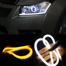 2pcs 60cm DRL Flexible LED Tube Strip Style Daytime Running Lights Tear Strip Car Headlight Turn Signal Light Parking Lamps