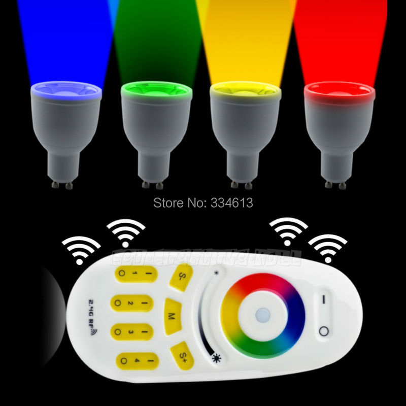 (4PCS) Lamp +RF Touch Remote+ Wifi Controller 85-265V Milight 2.4G GU10 4W RGB +Warm/Cool White LED Light Dimmable Bulb<br><br>Aliexpress