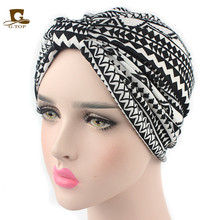 New Bohemian style turban hat cotton floral print head wrap vintage style(China)