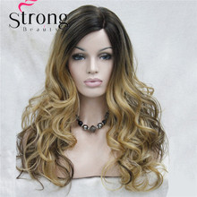 Monofilament Side Part Heat ok Ombre Dark Brown Blonde Long Curly Synthetic Wig For Women