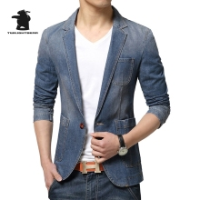 new men's denim blazers designer spring fashion high quality slim casual denim blazers men denim coat M~3XL C33F10