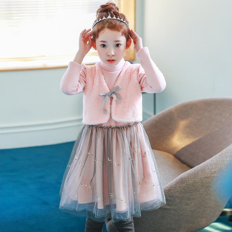 fur patchwork teenage girls christmas dress winter 2017 autumn warm pink children dresses for girls princess party clothing<br>