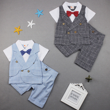 New gentleman wear baby boys plaid short sleeve cotton fake vest t shirt +shorts suit fashion children's party clothes 17J701