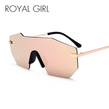 ROYAL GIRL Women Sunglasses 2018 New Brand Designer Unique Rimless Mirrored Lens Oversized Glasses ss501(China)