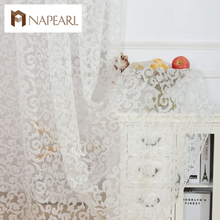 European style jacquard design home decoration modern curtain tulle fabrics organza sheer panel window treatment white short(China)