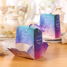20 Pcs Purple / Blue Starry Sky Theme Wedding Favors Candy Boxes Bomboniera Sachet Party Gift Box Paper Candy Gift Bags