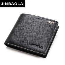 Practical Luxury Brand Cow Genuine Leather Men Wallets 100% Top Quality Short Male Purse Carteira Masculina Drop shipping J8086(China)