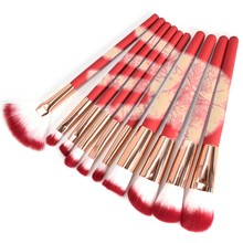 10 Pcs /Set 31 Degree Temperature Color Change Makeup Brushes Set Foundation Eyeshadow Cosmetic Red Make Up Brush Kit(China)