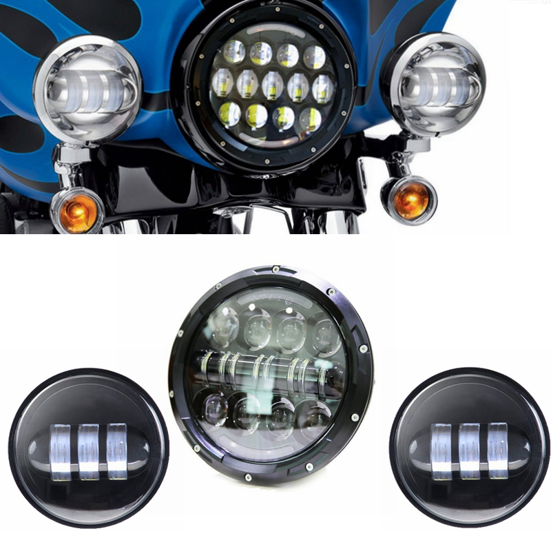 Harley Daymaker 7 Inch Round LED Headlight with Matching 4.5 Inch LED Passing Lamps for Harley Davidson Motorcycles<br><br>Aliexpress