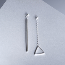 925 pure silver long design triangle earring cos for hm fashion vintage asymmetrical stud earring female anti-allergic