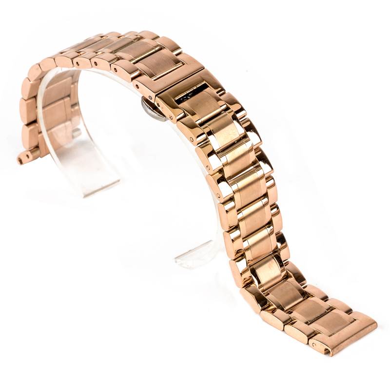 Shellhard 18-24mm Stainless Steel Watch Strap Butterfly Clasp Buckle Straight End Watch Band Strap 6 Colors Watch Accessories