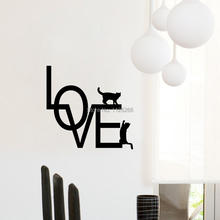 Love Wall Decal Capital Letter Cute Black Cat Pattern Vinyl Wall Decal Sticker Bedroom Home Decor(China)