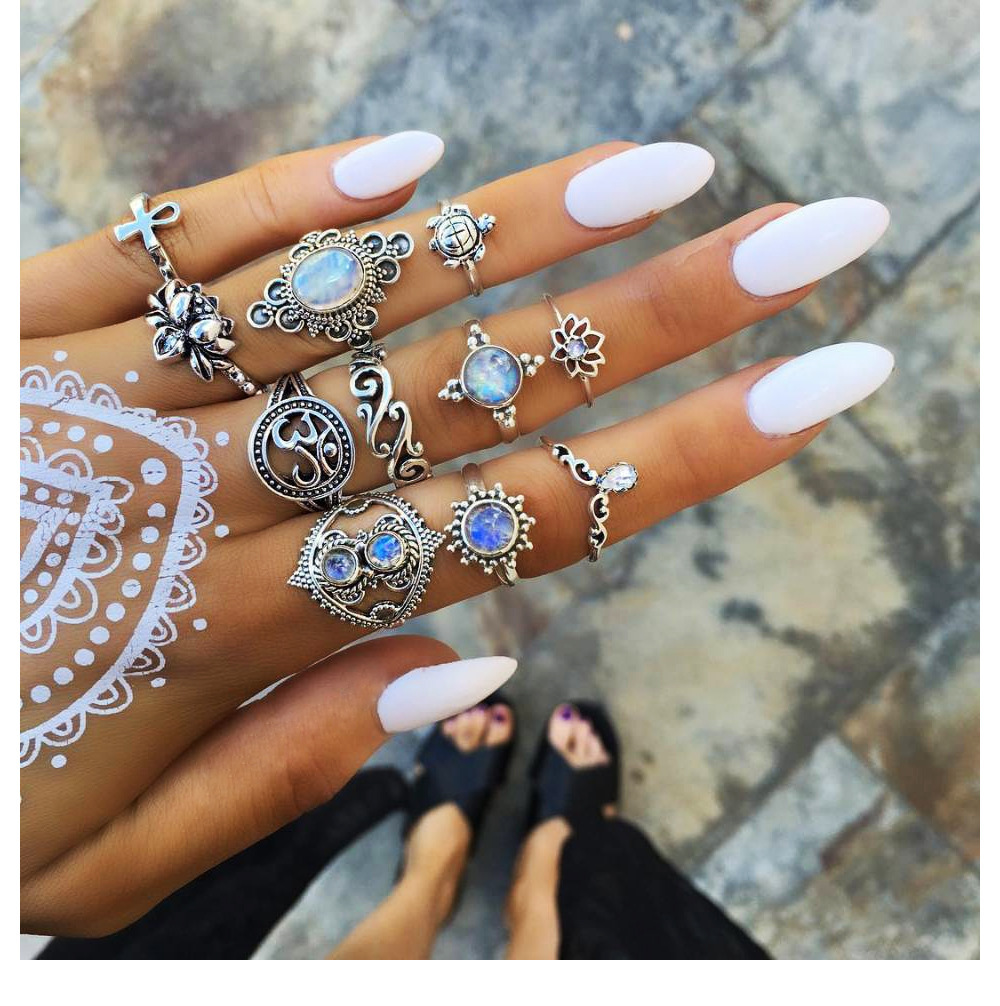 Bague Femme Vintage Rings for Women Boho Geometric Flower Crystal Knuckle Ring Set Bohemian Midi Finger Jewelry Silver Color 28