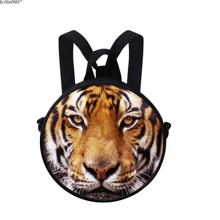 ELVISWORDS Girls Leisure Backpack Fashion Multifunction Bag Young Lady Daily Beautiful Tiger Printing Shoulder Bags Round Bag