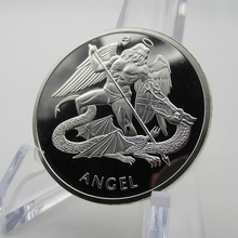 British Empire Archangel Michael Metal Coin Seraphim Church Bible Vatican Lord Dragon Sliver Coins(China)