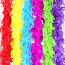WXBOOM 6PCS 2m/6.6ft Colorful Party Feather BOA, Turkey Feather BOA for Wedding Birthday Party Decorations Clothing Accessories