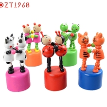 DZT6 Best seller funny Kids Intelligence Toy Dancing Stand Colorful Rocking Giraffe Wooden Toy Jirafa juguete de madera S15