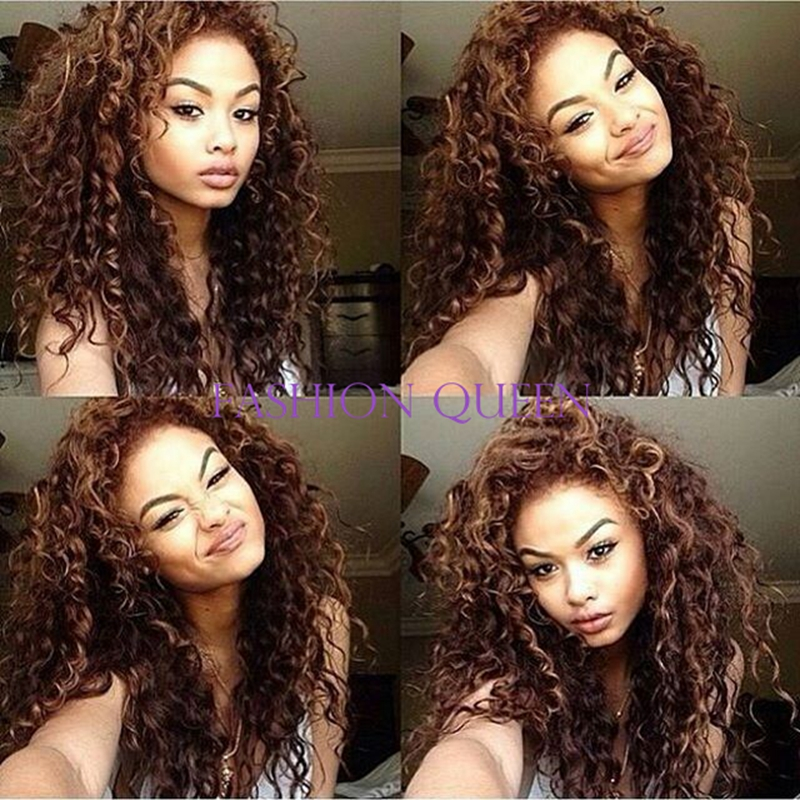 New arrival brown kinky curly synthetic lace front wig heat resistant real 100% Korean fiber hair cute curly wig for woman<br><br>Aliexpress
